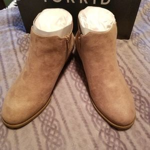 torrid Shoes - Taupe faux suede elastic bootie. Wide width